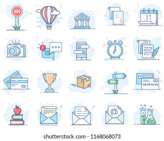 Set of flat line color icons. Vector illustration