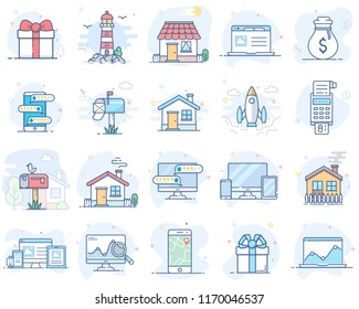 Set of flat line color icons. Vector illustration. Volume 2