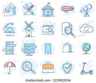 Set of flat line color icons. Vector illustration. Volume 3