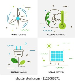 Set of flat line design icons of nature, ecology, green technology and recycling. Contains such Icons as Wind Turbine, Global Warming, Energy Saving,Solar Battery. Vector illustration