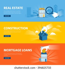 Set of flat line design web banners for real estate, construction, architecture and interior design, mortgage loans. Vector illustration concepts for web design, marketing, and graphic design.