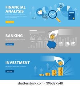 Set of flat line design web banners for banking and finance, investment, market research, financial analysis, savings. Vector illustration concepts for web design, marketing, and graphic design.