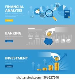 Ensemble de bannières web de conception à plat pour la banque et la finance, l'investissement, la recherche de marché, l'analyse financière, l'épargne. Concepts d'illustration vectorielle pour le design web, le marketing et le design graphique.
