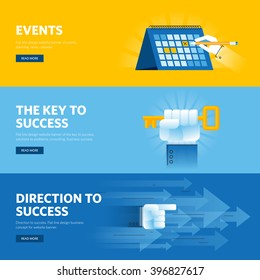 Set of flat line design web banners for business success, strategy, organization, news and events. Vector illustration concepts for web design, marketing, and graphic design.