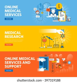 Set of flat line design web banners for online medical services and support, medical research. Vector illustration concepts for web design, marketing, and graphic design.