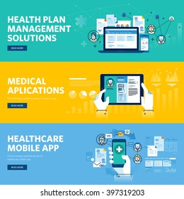 Set of flat line design web banners for healthcare mobile app, health plan management solutions. Vector illustration concepts for web design, marketing, and graphic design.