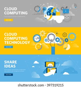 Set of flat line design web banners for cloud computing, online share ideas platform. Vector illustration concepts for web design, marketing, and graphic design.