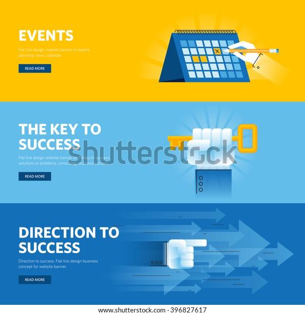 Conjunto de banners web de diseño plano para el éxito empresarial, estrategia, organización, noticias y eventos. Conceptos de ilustración vectorial para diseño web, marketing y gráfico.