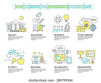 Set of Flat line icon & infographic design concept ,education