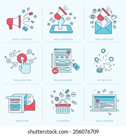 Set of flat line icons for marketing. Icons for digital marketing, mobile marketing, email marketing, video marketing, internet marketing, blog management, pay per click, e-commerce, social media.