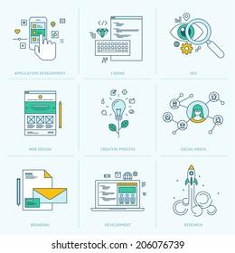 Set of flat line icons for web development. Icons for application development, web page coding and programming, seo, web design, creative process, social media, branding, marketing