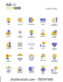 Set of flat line smooth gradient color icons for Business and Finance, suitable for mobile concepts, web application, printed media and infographics projects. Vector Illustration