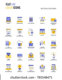 Set of flat line smooth gradient color icons for Web design and Development, suitable for mobile concepts, web application, printed media and infographics projects. Vector Illustration