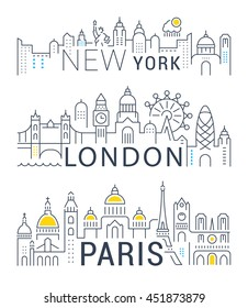 Set of flat line vector banners on the theme Paris, London, New York. Template for travel, adventure, vacation. Modern flat design. Trip vector logo