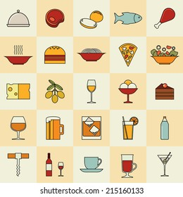 Set of flat line vector foursquare icons for international cuisine restaurant menu, food and drink: cooked meal, vegetarian, desserts, meat, fish, soup, fastfood, appetizers, soft, hot, alcohol drinks