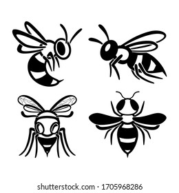 Set of flat line wasp icons. Bundle of black insects silhouettes Isolated on a white background. Graphic symbol, design template for logo. Vector illustration emblem of a bee, hornet, pest, sting.