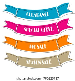 Set of Flat linear promotion ribbon banner scroll  price tag sticker badge poster isolated on white background