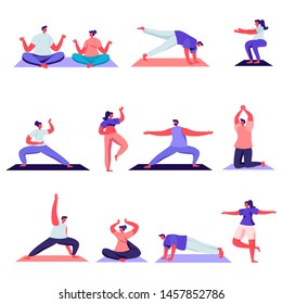 Set of Flat Male and Female Sport Activities Characters. Cartoon People Doing Sports, Yoga Exercise, Fitness, Workout in Different Poses, Stretching. Vector Illustration.