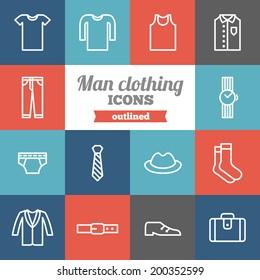 Set of flat man clothing icons