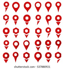 Set flat map pin marker pointers icons, sign location symbol design, color red on white background. Vector illustration.