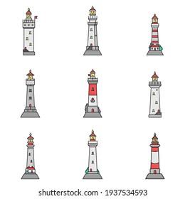 Set of flat minimalism lighthouses isolated white background. Vector illustration