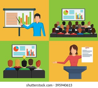 A set of flat minimalistic illustrations of a conference business meeting situations, presentation making, discussion, reporting and other activities