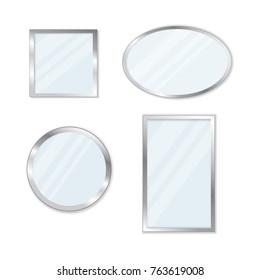 Set of flat mirors isolated on white background