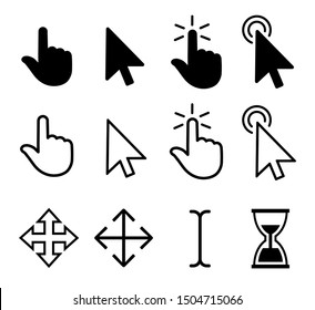 Set of flat modern cursor icons – vector for stock