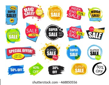 Set of flat modern and hand drawn design sale stickers. Collection of colorful vector illustrations for online shopping, product promotions, website badges, ads, flyers.