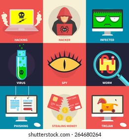 Set of flat modern icons - hacking, hacker, malware, identity theft, stealing money. Design elements for web, mobile applications, infographics. - stock vector