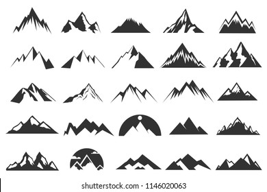 Set of the Flat Mountain Icons