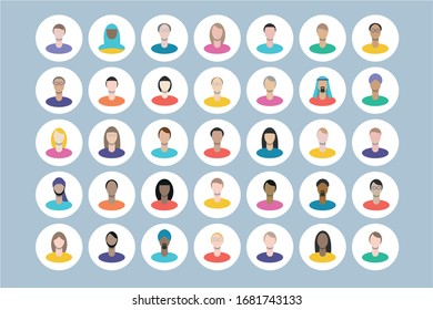 Set of flat multi cultural business people icons