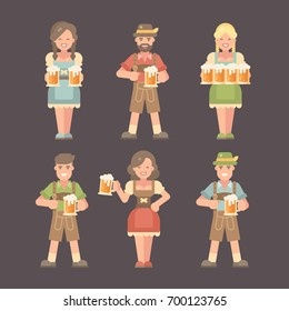 Set of flat Oktoberfest characters on dark background. Men in lederhosen and women in dirndl dresses holding beer mugs. Beer festival costumes flat illustration