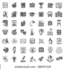 Set of flat outline monochrome silhouette vector icons of school subjects, education and science symbols. Concepts for website, web services, apps, infographics, promotional printed materials