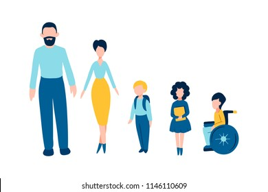 Set of flat people icons - male (father/ man), female (mother/ woman), kids (school children), one of them is disabled child on wheelchair for barrier-free environment and tolerance to invalids
