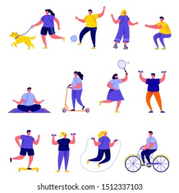 Set of flat people performing sports activities characters. Bundle cartoon people fitness workout or playing games isolated on white background. Vector illustration in flat modern style.