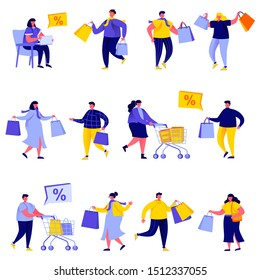 Set of flat people shopping bags and carts characters. Bundle cartoon people shoppers go shopping and shop isolated on white background. Vector illustration in flat modern style.
