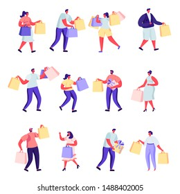 Set of flat people shopping at mall or supermarket characters. Bundle cartoon people joyful shoppers with packages on white background. Vector illustration in flat modern style.