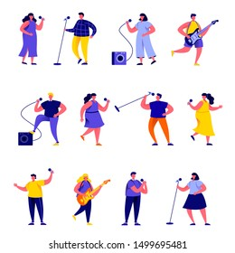 Set of flat people singers with microphones and musicians characters. Cartoon tiny people on street isolated on white background. Flat vector Illustration. Collection people characters.