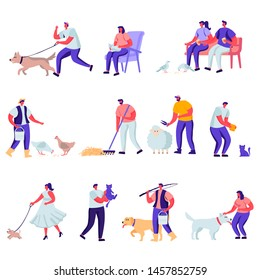 Set of Flat Pets and Domestic Animals Characters. Cartoon Feed Cattle, Farming Job, Shearing Sheep, Prepare Hay for Livestock. Vector Illustration.