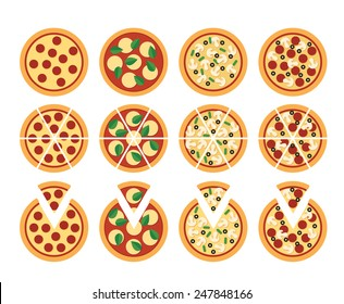 set of flat pizza icons isolated on white