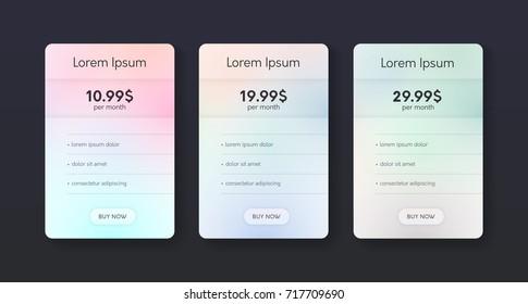 Set of flat price list. Three banners with tariffs. Modern web promo elements.