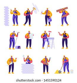 Set of Flat Professional Construction Workers Engineers Characters. Cartoon People Male in Uniform Overalls and Helmets with Equipment. Vector Illustration.