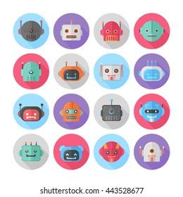 A set of flat robot icons for mobile apps, web-design, browser games, media, social networks avatars