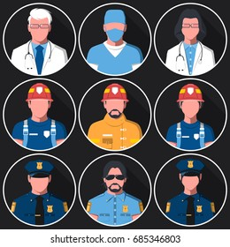 Set of flat round avatars of medical, fire and police services. Portraits of firemen, medical staff and officers for user profile picture. Men and women. Vector illustration.