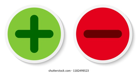 Set of flat round plus & minus sign icons, buttons, stickers. Positive and negative symbols. Vector EPS 10