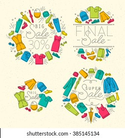 Set of flat Sale clothes monograms in retro style drawing with color and grey lines on beige background