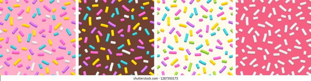 Set of flat seamless patterns of donut glaze with many decorative sprinkles