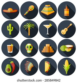 Set of flat shadow icons on Mexica theme: sombrero, poncho, tequila, coctails, taco, skull, guitar, pyramid, avocado, lemon, chilli pepper, cactus, injun hat, palm. Isolated national mexican objects