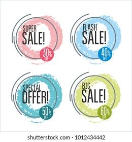 Set of flat shaped banners, price tags, stickers, badges. Vector illustration.